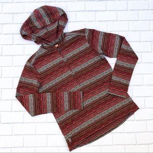 Lucy Striped Textured Half-Zip Hoodie